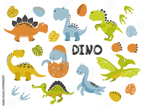 Set of funny cartoon dinosaurs for kids. Vector illustration.