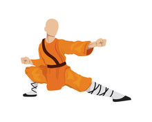 Shaoilin Monk With Kung Fu Move