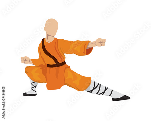 Fototapeta Shaoilin Monk with Kung Fu Move
