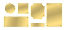 Metal Plates With Rivets Set. Golden Colored Badges. Vector Design Elements.