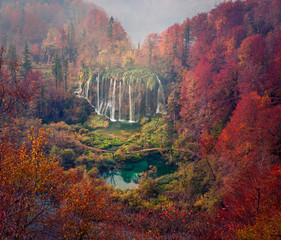 Fototapeta Wodospad Aerial morning view of pure water waterfall in Plitvice National Park. Spectacular autumn scene of Croatia, Europe. Beauty of nature concept background.