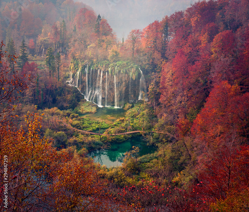 Montage in der Fensternische Kastanienbraun Aerial morning view of pure water waterfall in Plitvice National Park. Spectacular autumn scene of Croatia, Europe. Beauty of nature concept background.