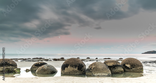 Moeraki boulders on an overcast day Canvas Print