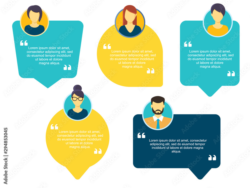 Fototapeta Testimonial Speech bubble concept, customer feedback for info graphic, application and website. Creative testimonials template with different shapes. Vector illustration.