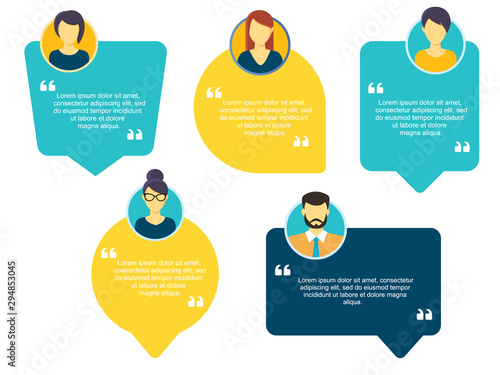 Fotomural Testimonial Speech bubble concept, customer feedback for info graphic, application and website