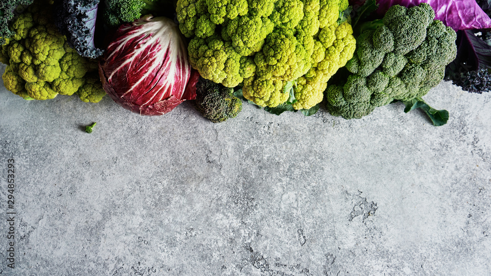 Fototapety, obrazy: Cabbage of different varieties on a light background, cauliflower, radicchio, broccoli, Kale.