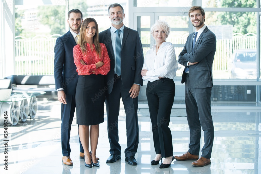 Fototapeta group of businesspeople standing together in office.