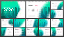 Desk Calendar 2020 Template For  Business. Week Starts On Monday. Set Of 12 Calendar Pages Designs Print Layout. Wall Calendar Planner Templates. Powerpoint Presentation Template.