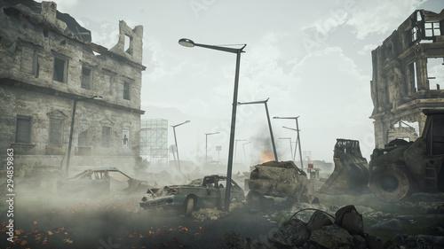 Papel de parede Ruins of a city. Apocalyptic landscape post apocalypse