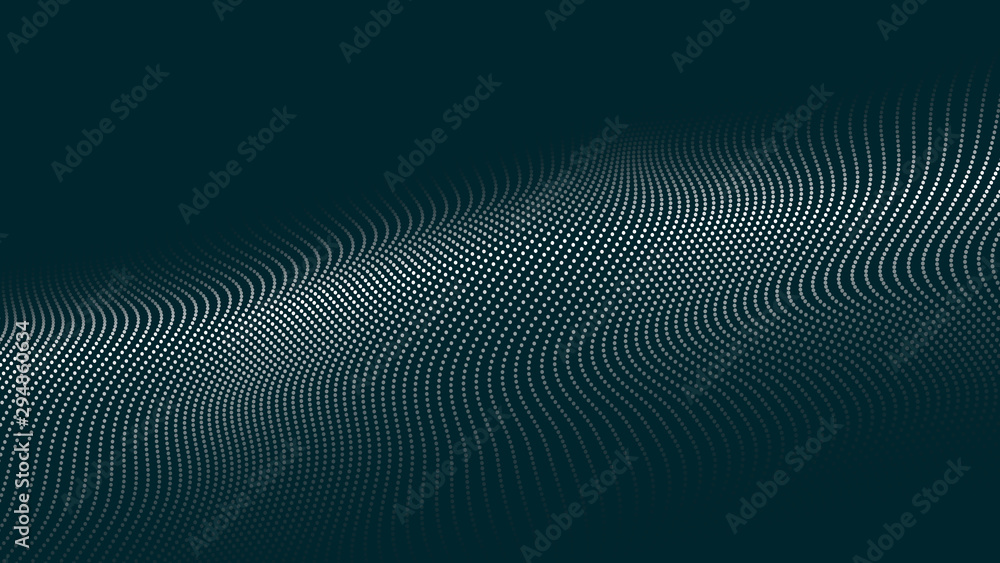 Fototapeta Abstract digital wave of particles. Futuristic point wave. Technology background vector. Vector illustration
