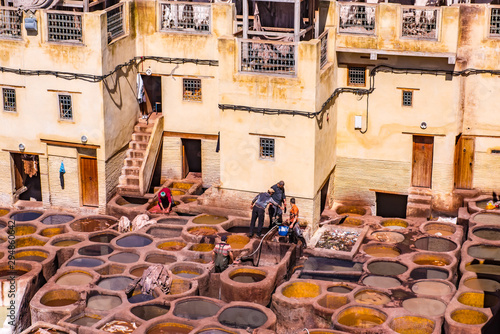 Tanneries of Fes Old tanks with color paint for leather. Morocco Africa.