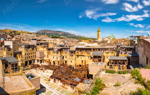 Fes, Morocco. Old town panorama,tanneries and tanks with color paint for leather. Morocco Africa