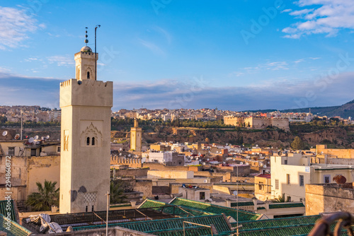 Fes, Morocco Africa. Old town panorama with Qaraouiyine Mosque and medina