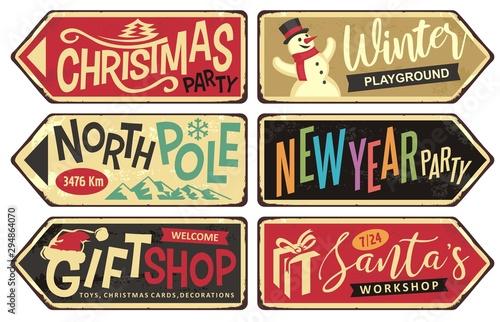 Fototapeta  Collection of holiday Christmas sign posts