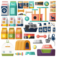 Set Of Isolated Pet Items, Food For Cat And Dog