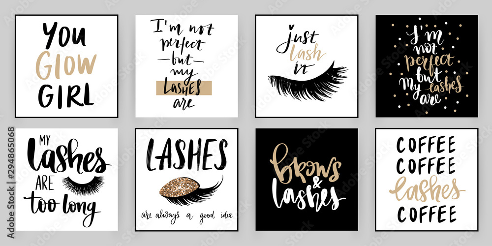 Fototapety, obrazy: Set with fashion cards with inspiration quote about girls, lashes, makeup.