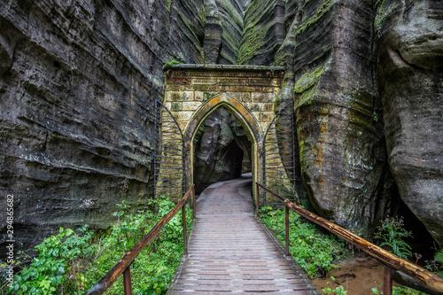 Gothic gate in Adrspach-Teplice Rocks (nature reserve in Broumov Highlands region of Czech Republic)