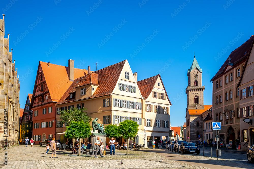 Fototapeta Altstadt und Sankt Pauls Kirche, Dinkelsbühl, Bayern, Deutschland