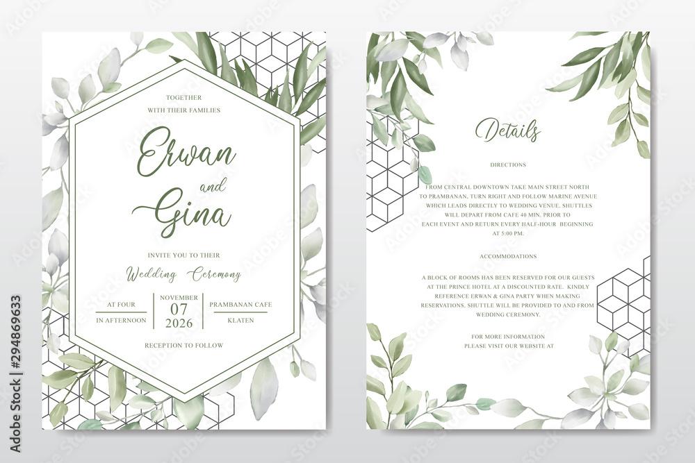 Zieleń Akwarela Kwiatowy wesele zaproszenie szablon karty projektu <span>plik: #294869633 | autor: FederiqoEnd</span>