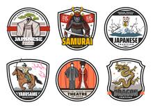 Samurai, Yabusame, Maneki-neko Cat, Kabuki Icons