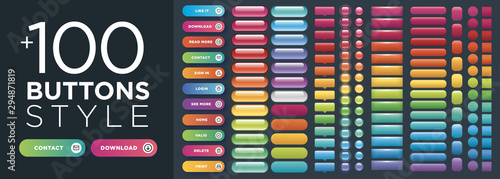 Stampa su Tela Set of vector style buttons