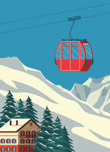 Ski Resort With Red Gondola Li...