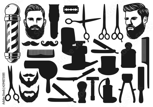 Cutting, shaving, trimming silhouettes. Barbershop Wallpaper Mural
