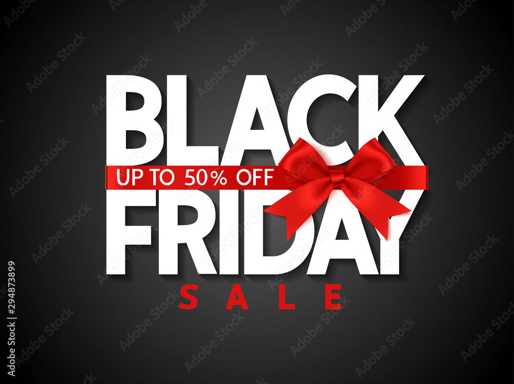 Fototapeta Black friday sale design template Text with decorative red bow. Vector illustration