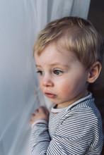 Kleinkind Schaut Aus Dem Fenster