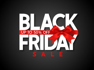 Black friday sale design template Text with decorative red bow. Vector illustration