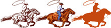 Vector Image Of A Cowboy In A Hat On A Horse With A Lasso And A Foal In The Style Of Art Graphics