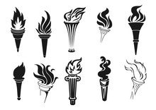 Burning Torches With Fire, Icons