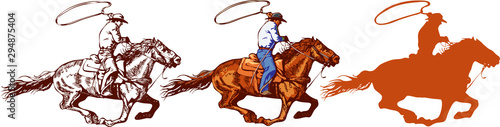 Fotografía vector image of a cowboy in a hat on a horse with a lasso and a foal in the styl