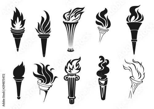 Fotografiet Burning torches with fire, icons