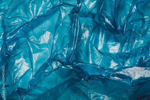 Fotografía Background, Blue plastic bag closeup