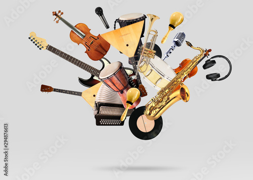 A variety of musical instruments in beautiful flight - 294876613