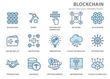Blockchain Technology Flat Line Icon Set. Vector Illustration. Editable Stroke.
