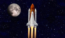 Space Shuttle Orbiting Earth Planet. Elements Of This Image Are Furnished By NASA