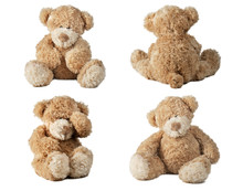 Set Of Teddy Bear Isolated On White Background