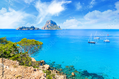 Beautiful azure blue sea water, ibiza Spain