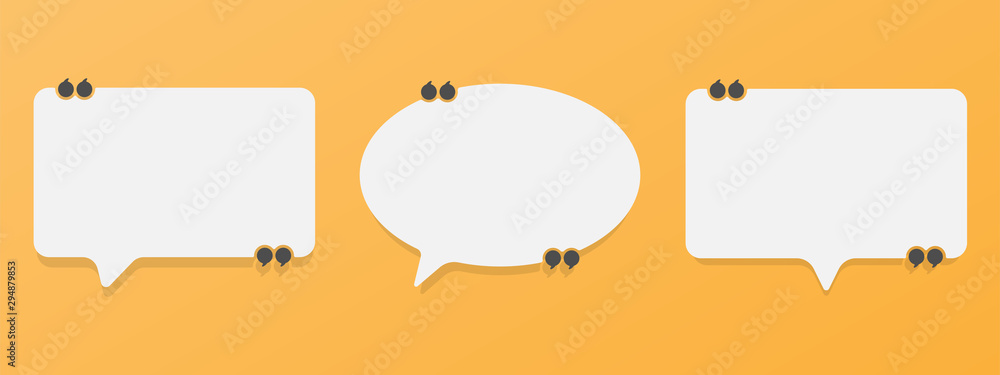 Fototapeta Set of speech bubble quote icons. Flat vector design