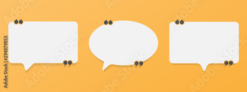 Canvastavla Set of speech bubble quote icons. Flat vector design