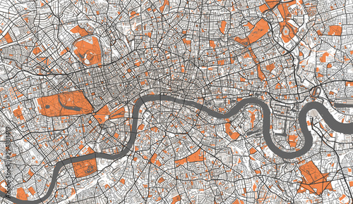 Fotografia, Obraz Detailed Map of London, UK