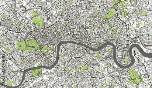 Detailed Map of London, UK Wallpaper Mural
