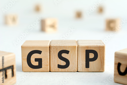 Photo GSP - acronym from wooden blocks with letters, abbreviation GSP Generalized Syst