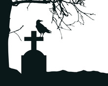 Realistic Illustration Of A Tombstone In A Cemetery With A Sitting Raven And A Dry Dead Tree. Isolated On White Background, With Space For Text, Vector
