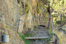 Chains In Via Ferrata In The Pyrenees Of Andorra.