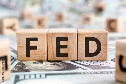 FED - acronym from wooden blocks with letters, abbreviation FED Federal Reserve Canvas Print