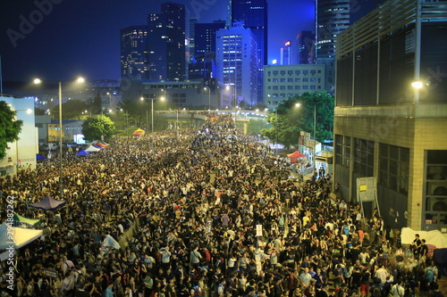 protesters raise up the mobiles in Admiralty government headquarters in 2014 Wallpaper Mural