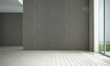 Leinwanddruck Bild Modern loft white empty living room and wood texture wall panel background